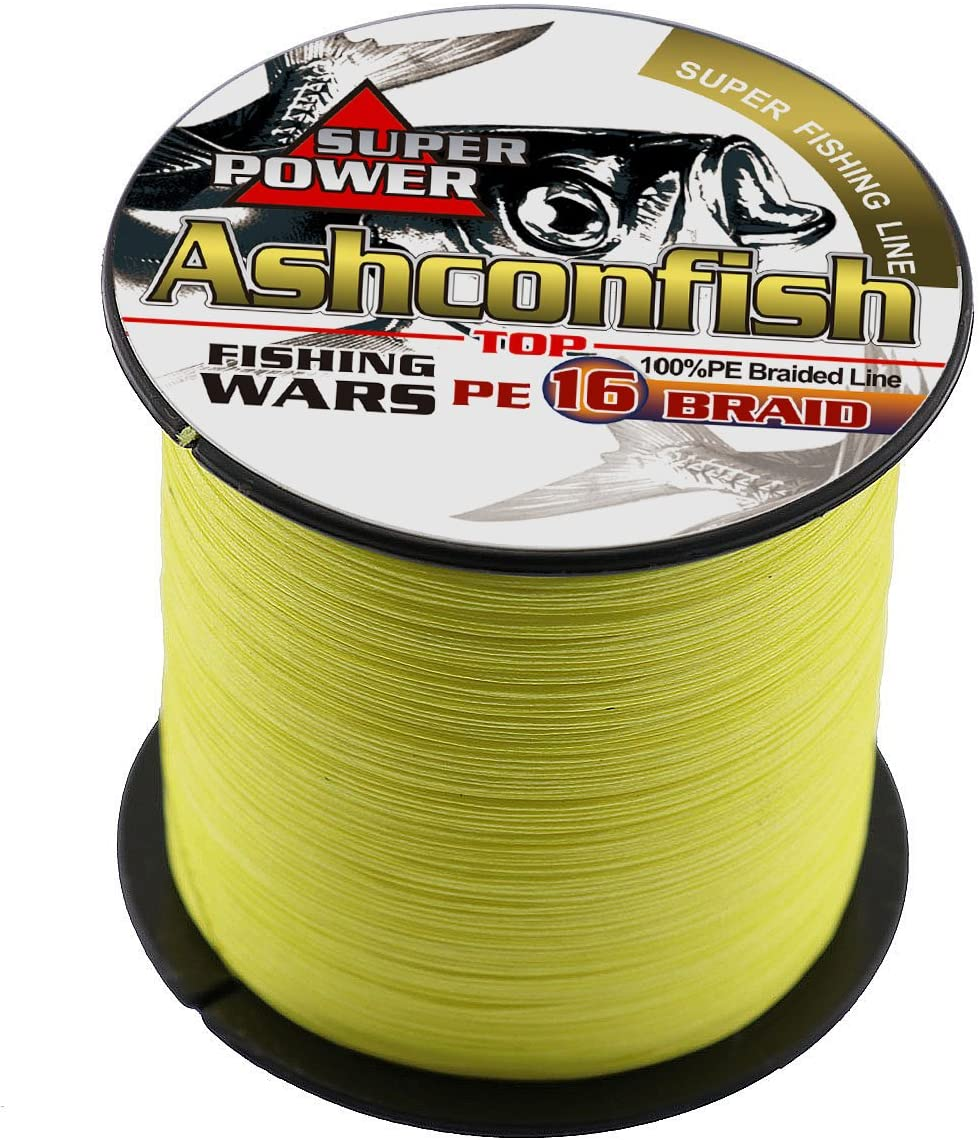 Abrasion Resistant Incredible Superline Zero Stretch Ultrathin Diameter Woven Thread Ashconfish Braided Fishing Line-16 Strands Hollow Core Fishing Wire 1000M//1092Yards