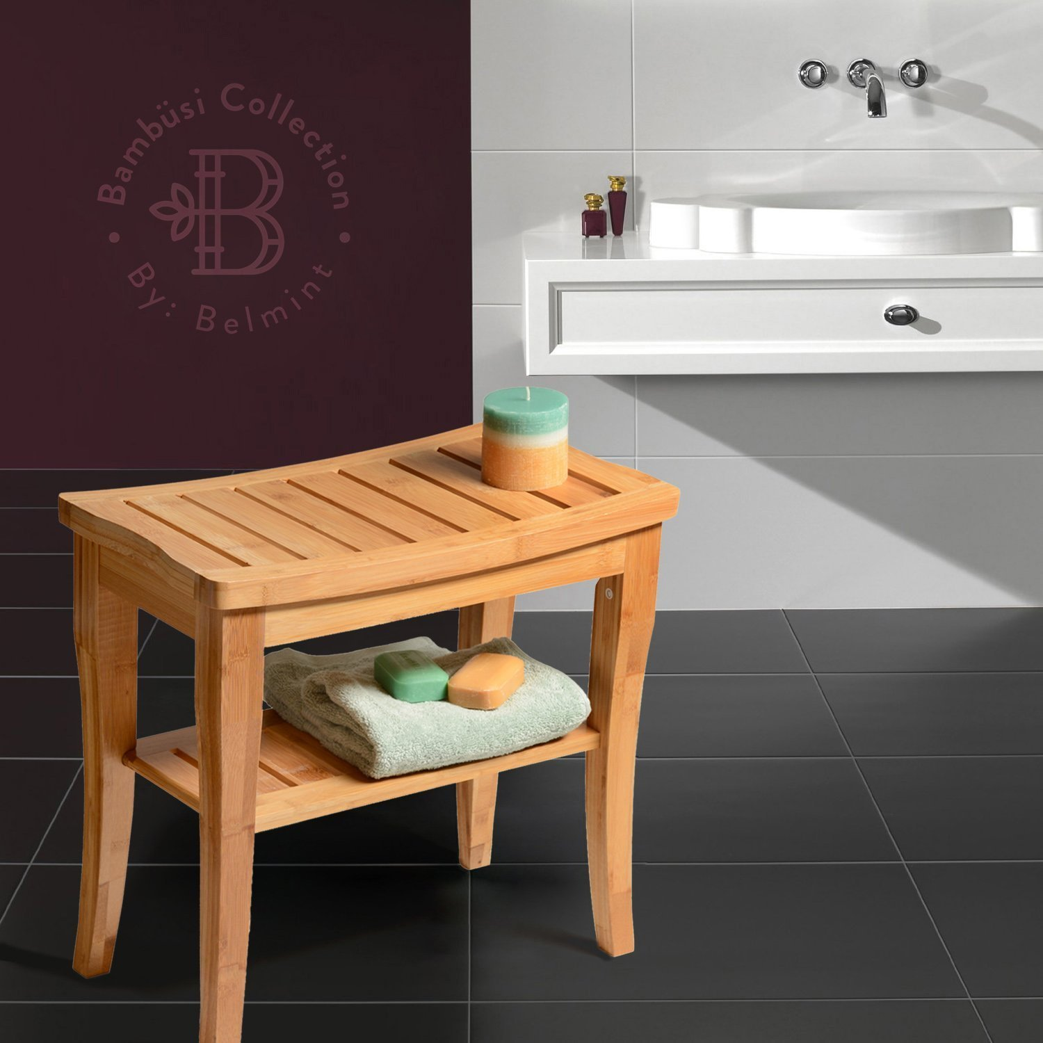 Bamboo Shower Bench Seat Wooden Spa Bench Stool with Storage Shelf, Bath Seat Bench Stool Perfect for Indoor or Outdoor. By Bambusi by Bambüsi (Image #7)