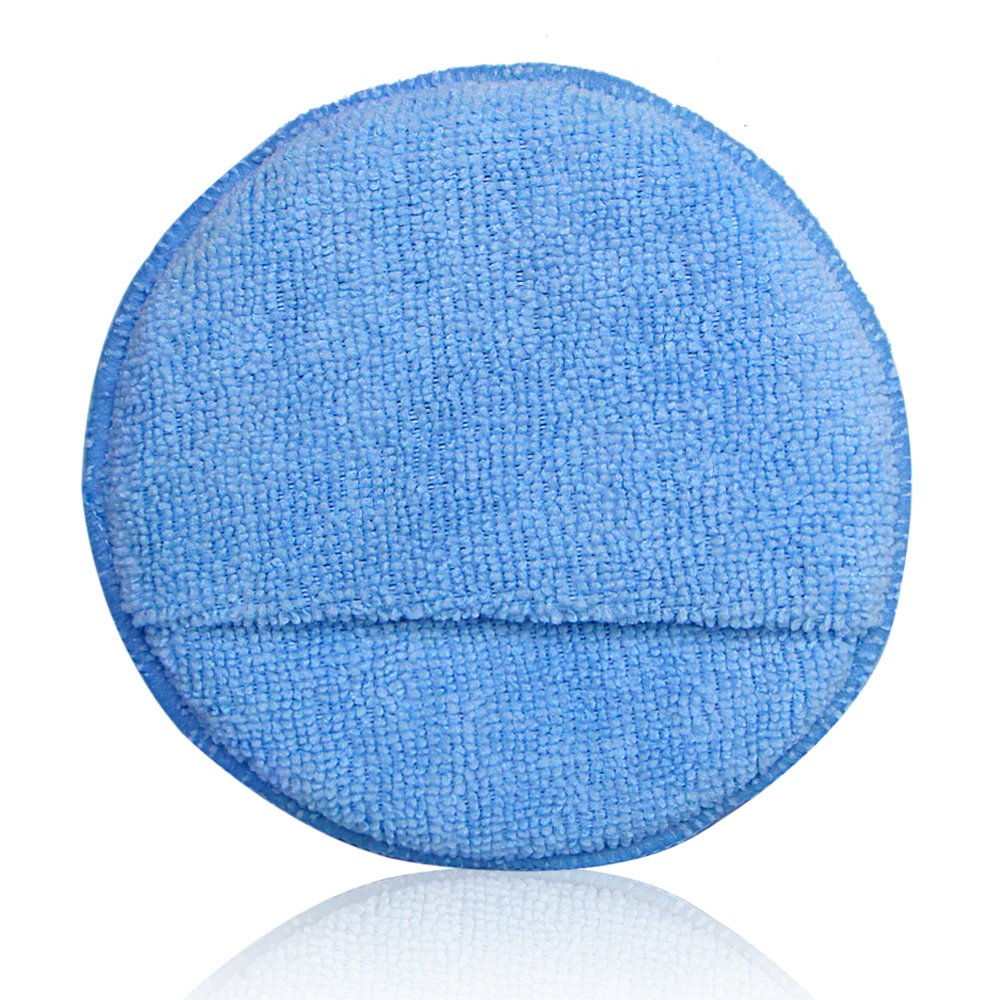 AutoCare Ultra-soft Microfiber Wax Applicator Pads with Pocket Wax Applicator for Cars Wax Applicator foam sponge Blue, 5 Diameter, Pack of 10 Microfiber Wax Applicator