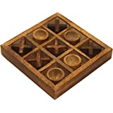 Sale on Crafkart Wood Tic Tac Toe Classic Board Games Noughts and Crosses Family Brain Teaser Puzzle Coffee Table for Adults and Children All Ages