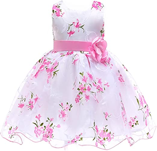 US STOCK Summer Toddler Baby Girls Sleeveless Floral Tulle Party Dress Clothes