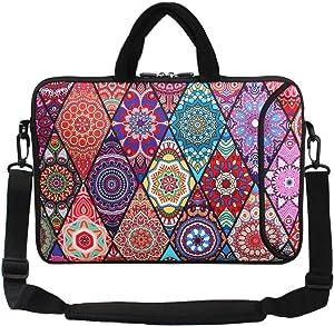 """Violet Mist 13""""15""""15.6""""Neoprene Laptop Sleeve Bag Waterproof Sleeve Case Briefcase Pouch Bag Adjustable Shoulder Strap External Pocket(14"""" 15""""-15.6"""",Mandala)"""