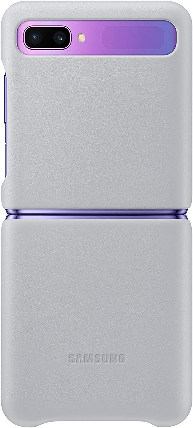 Grey Samsung Official Galaxy Z Flip Genuine Leather Cover Case
