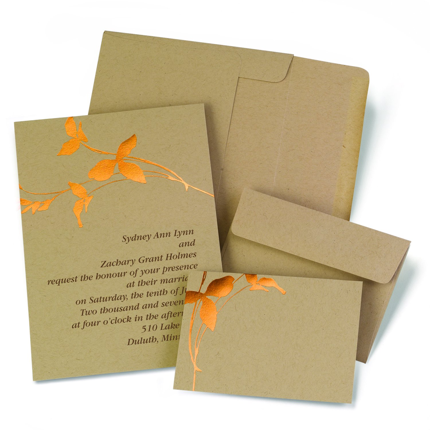 Amazon.com: Hortense B. Hewitt 2140010 50 Count Copper Branches Invitation  Kit, Kraft/Copper: Kitchen U0026 Dining