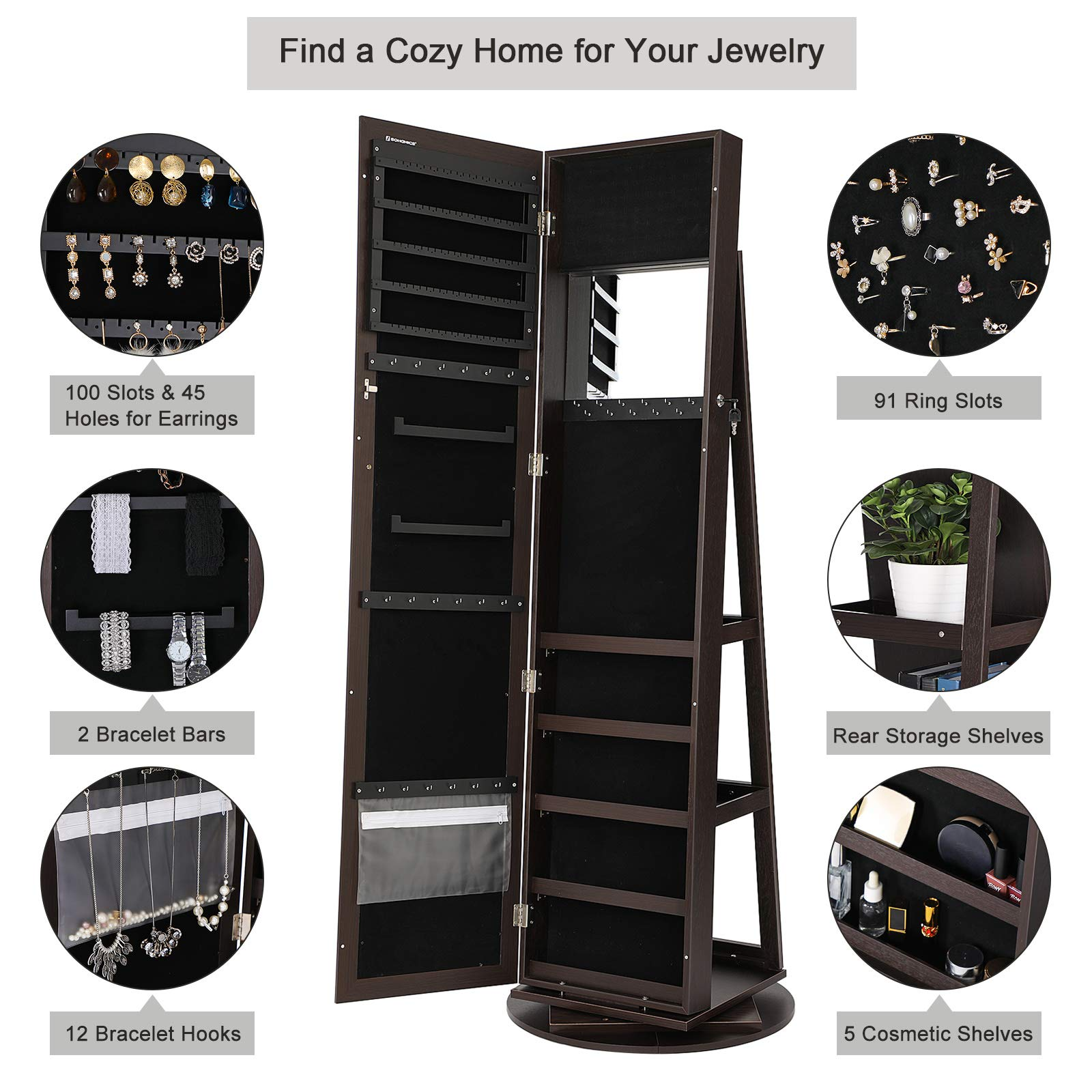 SONGMICS Jewelry Cabinet Armoire 360° Rotatable Higher Mirror, Lockable Jewelry Organizer Mother's Day Gift UJJC62BR by SONGMICS (Image #3)