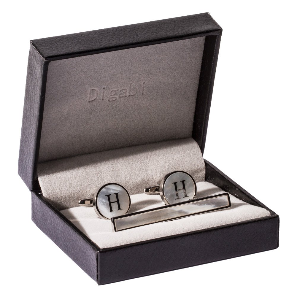 Digabi Platinum Plated 18K Rectangular Mother of Pearl Tie Clip and Initial Letter Cufflinks Set with Nice Box (Silver H)