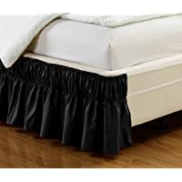 """Wrap Around 15"""" inch Fall Solid Ruffled Elastic Bed Skirt 1500 Series Gold Crown Collection High Thread Count Microfiber Dust Ruffle, Soft & Wrinkle Free. Twin, Full, Queen, King and Cal King"""