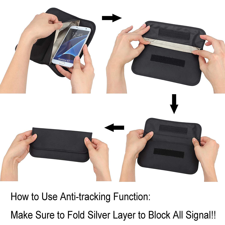 RFWIN - Bolsas de Bloqueo para Llaves de Coche, 2 Unidades, RFID Faraday, sin Llave, para teléfono móvil, Tarjetas de crédito, antirrobo, Funda de Piel ...