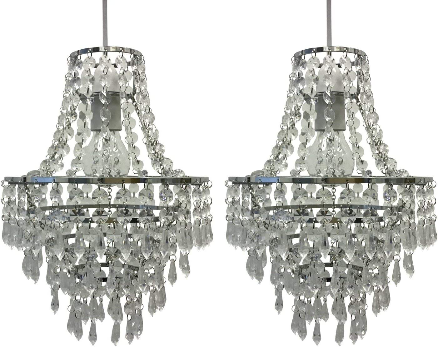 Chandelier Style Easy Fit Ceiling Light Shade Jewelled Lampshade Pendant
