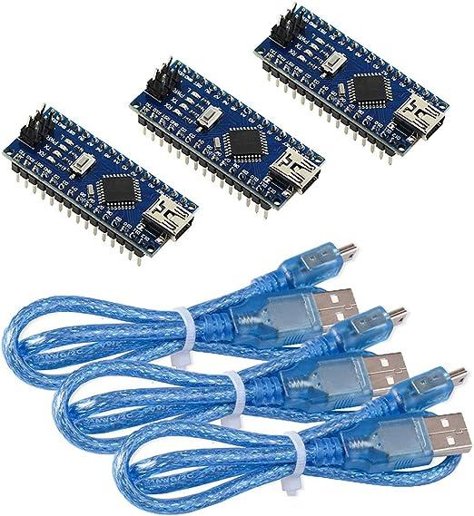 KeeYees Nano V3.0 Modul 1.5m USB-Kabel f/ür Arduino Nano V3.0 ATmega328P CH340G Chip 5V 16MHz Mini Entwicklerboard mit Terminal Adapter Platine