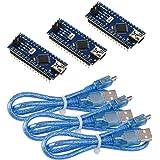IZOKEE 3 Set Mini Nano V3.0 Modulo, ATmega328P CH340G 5V 16MHz Microcontroller Board per Arduino con 3pcs USB Cavo, Saldatura