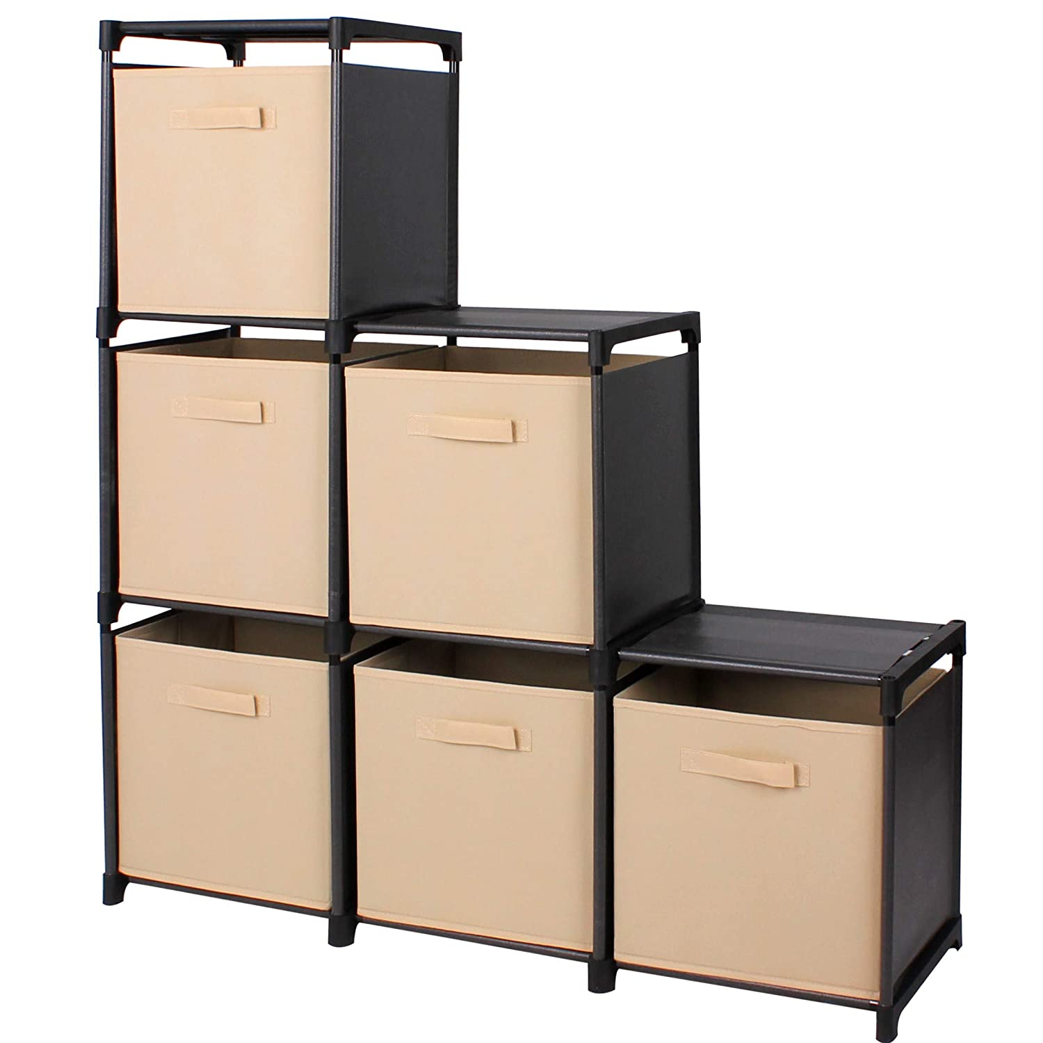 Mockins 3 Tier Storage Rack Bookcase Shelf Bundle with 6 Foldable Cube Storage Bins That Perfectly Fit Into The 6 Cube Closet Organizer Cabinet - Beige Bins … … …