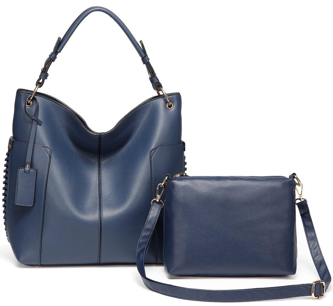 Hobo Bag Purse for women,Vaschy Faux LeatherConvertible Top Handle Handbag Shopper Tote with Small Crossbody Shoulder Bag Navy