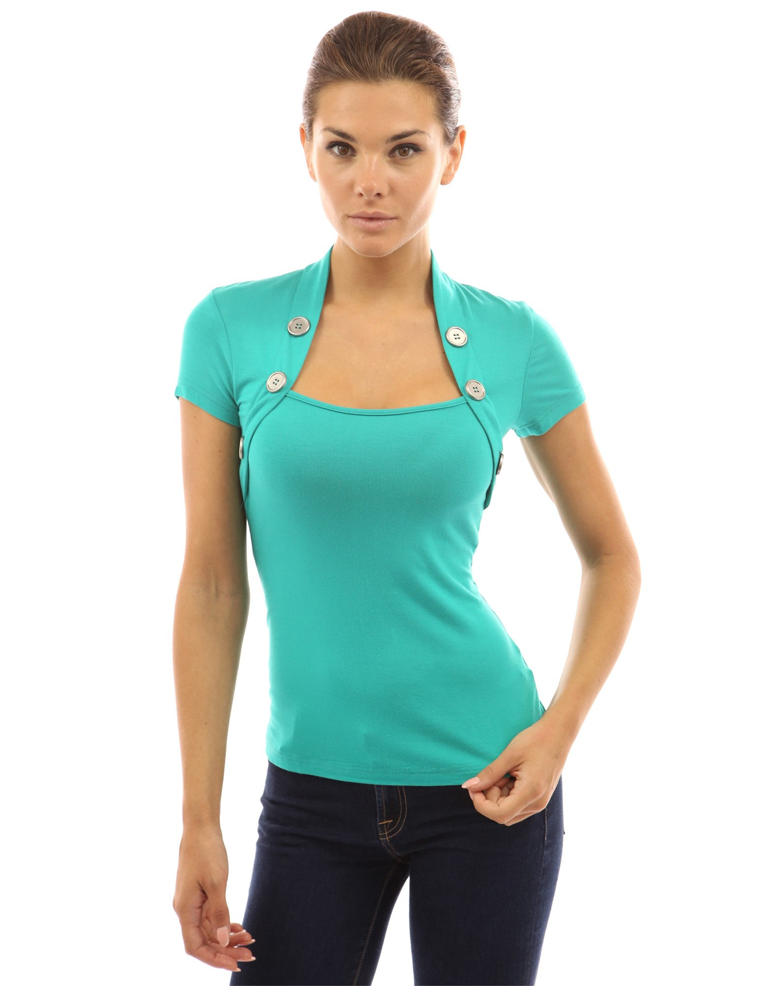 PattyBoutik Women's Bolero Style Embellished with Buttons Blouse (Turquoise M)