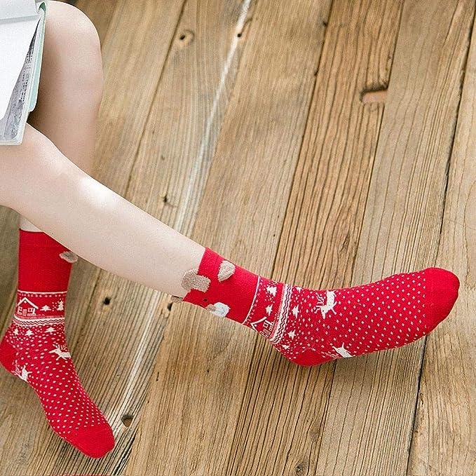 VJGOAL Mujer Otoño E Invierno Moda casual Lindo estampado de Navidad Algodón Calcetines Multicolor Medias de tubo medio(Un tamaño, Multicolor1): Amazon.es: ...
