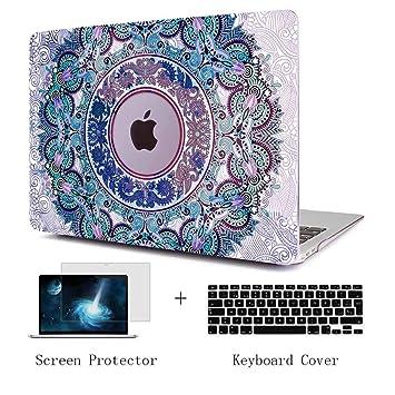 TwoL Funda MacBook Pro 13 Touch Bar 2016-2019, Súper Delgada Carcasa Protectora de Plástico Duro + Cubierta de Teclado + Protector de Pantalla Mandala ...