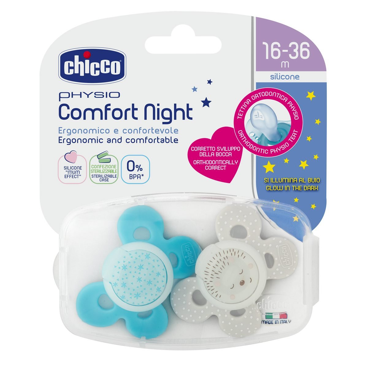 Chicco Physio Comfort - Pack de 2 chupetes de silicona 16-36 m, color azul (diseños surtidos)
