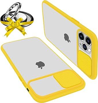 Coque Avec Protection Caméra Glissante Compatible Avec iPhone 11 Coque Protecteur d'Objectif Antichoc Translucide Avec Bague Support Magnetique ...