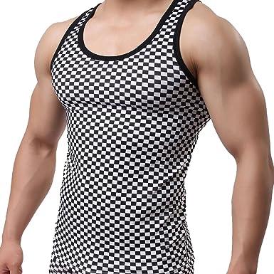 YZBear - Camiseta de algodón sin Mangas para Hombre, diseño de Cuadros Negro Negro (Large: Amazon.es: Ropa y accesorios