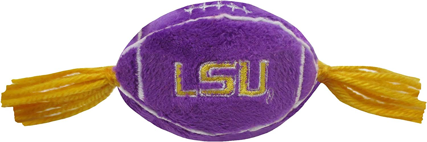 Pets First NCAA LSU Tigers Catnip Toy in Football Shape with Team Logo in Vibrant Team Color
