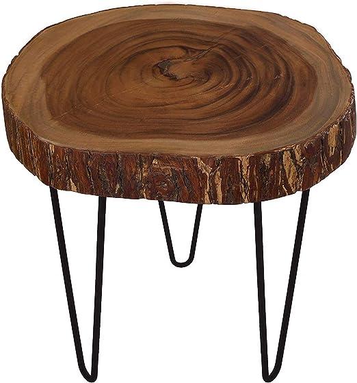 Cander Berlin MNT 0440 Beistelltisch Rinde Suar (45 55) x 46 cm Baumscheibe Metall Holz Sofatisch Kaffeetisch Couchtisch Natur Regenbaum Tisch