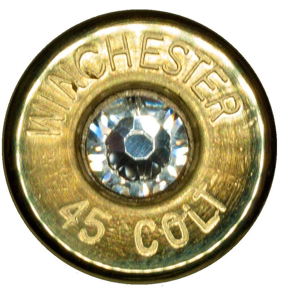 .45 Colt Brass Tie Tack w/ Swarovski Crystal- Clear (Winchester) Mike Slinger Dobez 45ColtWinBrassTieSwar