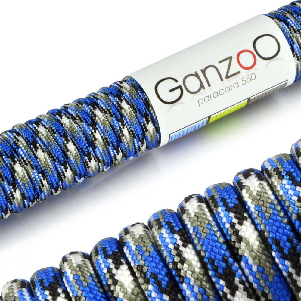 'Universal Survival Rope Made of tear-resistant Parachute Cord/Paracord 550Core Rope Nylon, 550lbs, Total Length 31Meters (100ft) Colour: Blue/White/Black–Ganzoo #5011ben