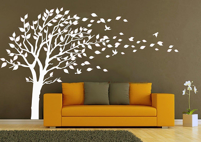 AIYANG Arbre Immense mur autocollant feuilles de rose et blanc les oiseaux mur autocollant pour b/éb/é enfants nursery chambre de d/écoration Blanc
