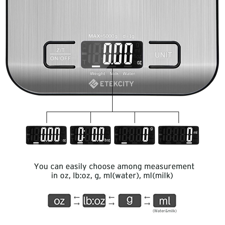 Peso de Cocina con LCD Retroiluminaci/ón 5kg//11 lbs Bascula Comida de Precisi/ón Etekcity B/áscula Digital para Cocina de Acero Inoxidable Plata Bater/ías Incluidas Balanza de Alimento Multifuncional