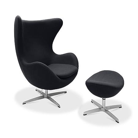 Charming Arne Jacobsen Egg Chair U0026 Ottoman, Cashmere Wool   Black
