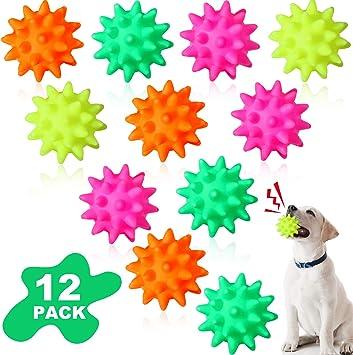 12 Pelotas de Mascotas con Puntiagudo Juguetes de Cachorros Pelotas Chirriantes Pelota para Perros Masticar de TPR Juguetes de Dentición de Color Brillante para Cachorros: Amazon.es: Juguetes y juegos
