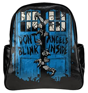 Doctor Who Weeping Angels Print Leather Backpack Casual Multi-functional Rucksack