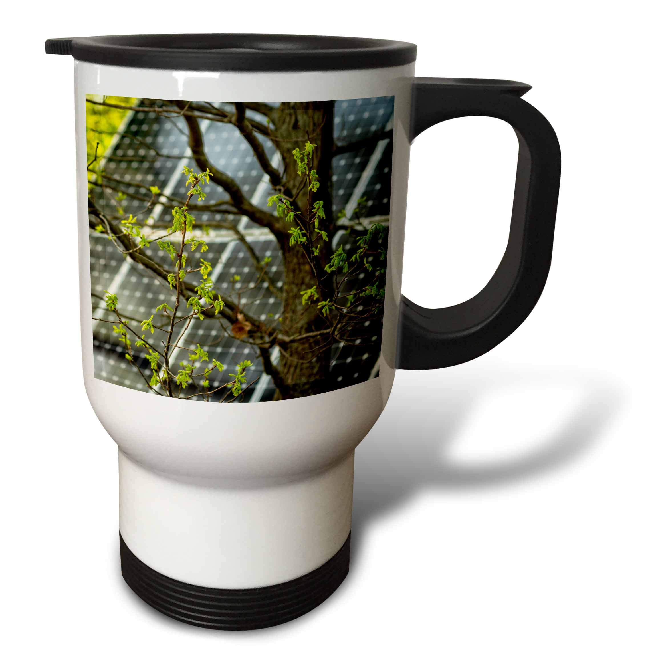 3dRose Alexis Photography - Objects - Oak tree with fresh leaves, solar power panel in the background - 14oz Stainless Steel Travel Mug (tm_290827_1)