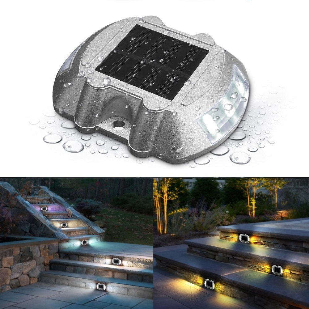 jiguoor Waterproof Solar LED Powered Road Step Light Dock Light with 6 small LED Bulbs inside for Outdoor Driveway Deck Garden Ground Path Yard