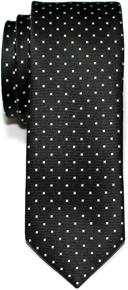 Retreez Corbata de microfibra fina con puntitos para hombres Negro ...