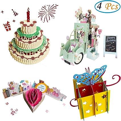 Amazon 3d pop up birthday cards greeting handmade birthday 3d pop up birthday cards greeting handmade birthday cards envelopes for sister mom m4hsunfo