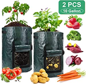 2PCS 10 Gallons Potato Grow Bags Smart Pot, Garden Vegetable Planting Bag with Flap and Handles, Premium Waterproof Growing Bags Planting Pots Outdoor Indoor for Carrot, Onion and Fruits