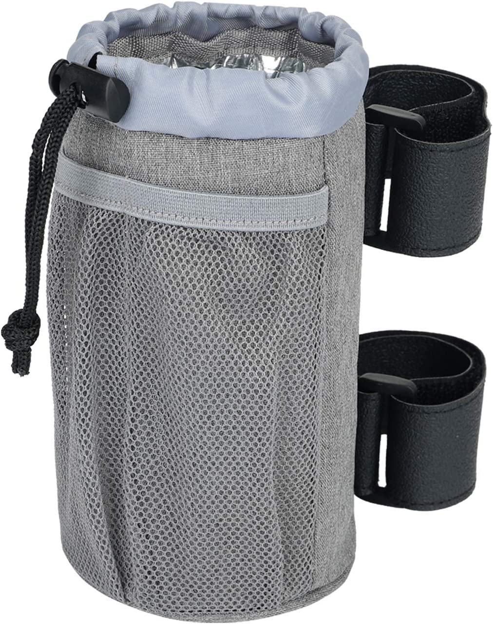 CHENGDE Bike Cup Holder, Water Bottle Holder, Bar Cup Holder, Oxford Fabric Drink Cup Can Holder for Bike,Boat,Scooter,Wheelchair,Motorcycle,ATV,Walker,Golf Cart,RV and Camper, Gray