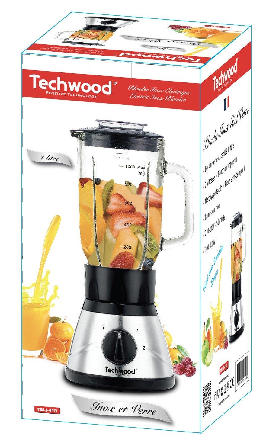Techwood TBLI-410 Batidora de vaso 1L 400W Negro, Acero inoxidable - Licuadora (1 L, Batidora de vaso, Negro, Acero inoxidable, Vidrio, Acero inoxidable, ...