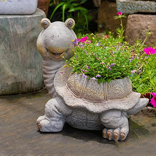 GLOOPE Ornamento de Resina Olla Adornos Florales Dibujos Animados Tortuga Jardín Artesanía Estatua Escultura Adecuado for Patio al Aire Libre (Color : B): Amazon.es: Hogar