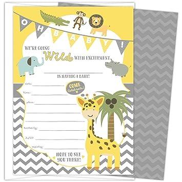 Amazon Com Baby Shower Invitations Jungle Safari Animal Theme Set