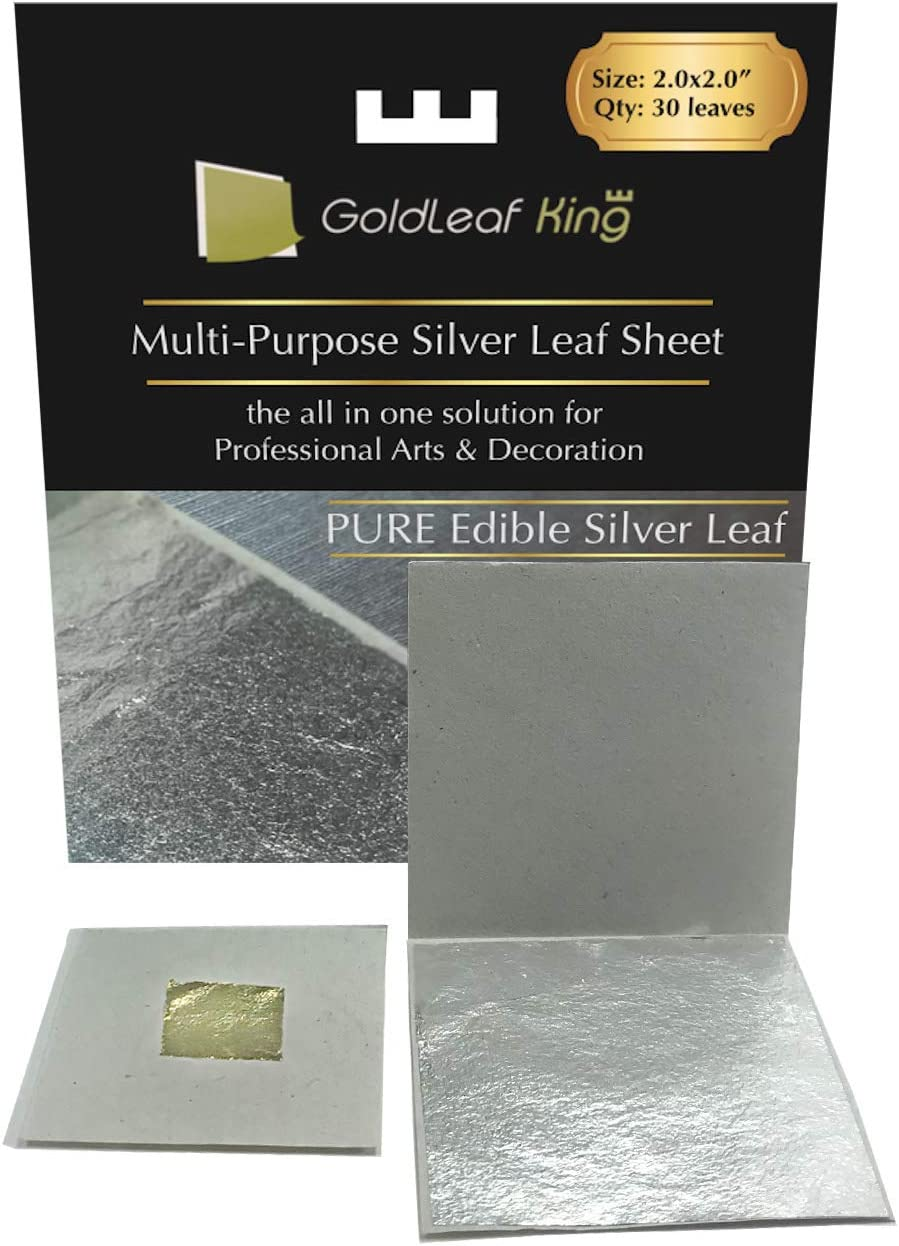 Genuine Edible Silver Leaf Sheets | Goldleafking | 30 Sheets - 2.0 x 2.0 inches for Cooking, Cake & Chocolate, Silver Fondant, Edible Cake Decorations, Multi-Purpose + Free Small Gold Leaf x 10