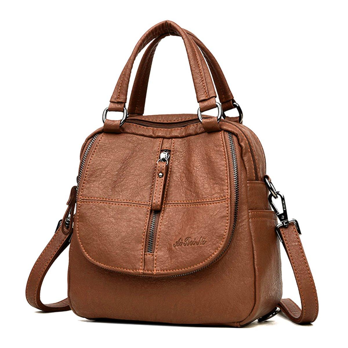 JOSEKO Women Backpack Purse, PU Washed Leather Shoulder Bag Ladies Travel Backpack Multifunction Handbag JOSEKOUSRnal1211