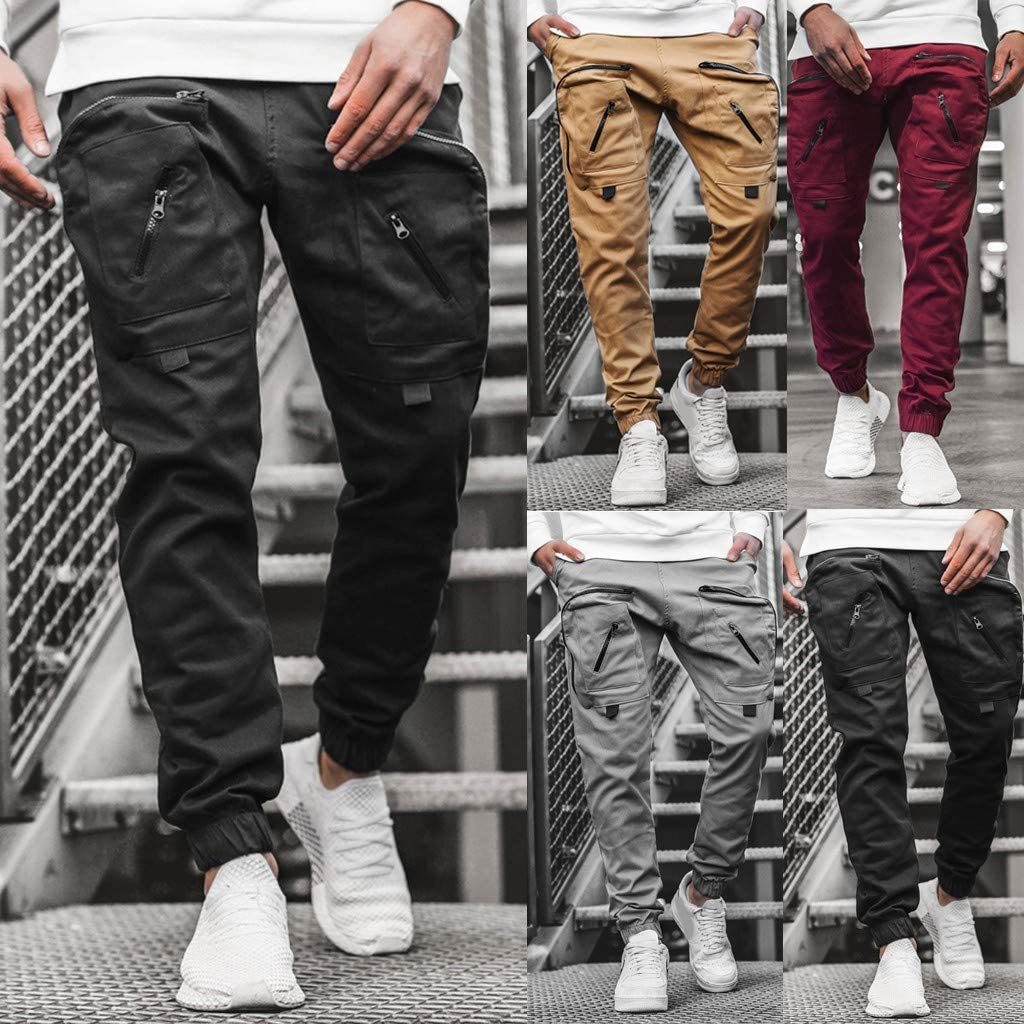 DressUMen Stretch Silm Fit Business Oversize Solid Colored Cargo Pants