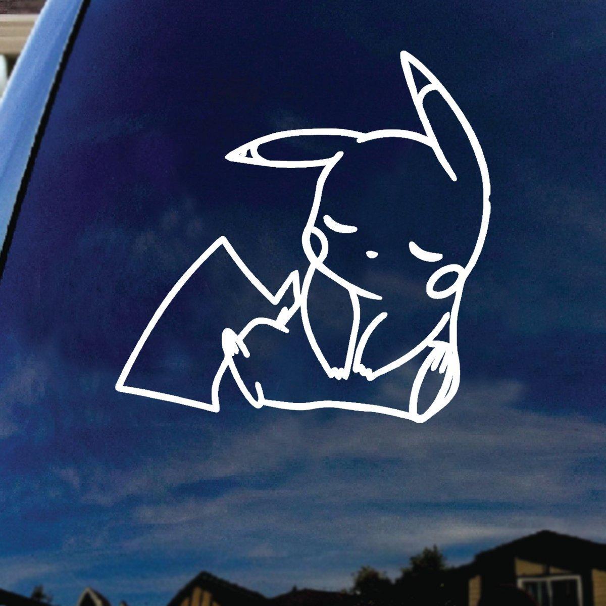 Maple Enterprise Pikachu Cartoon Character Sleeping Car Window Vinyl Decal Sticker 5 Tall