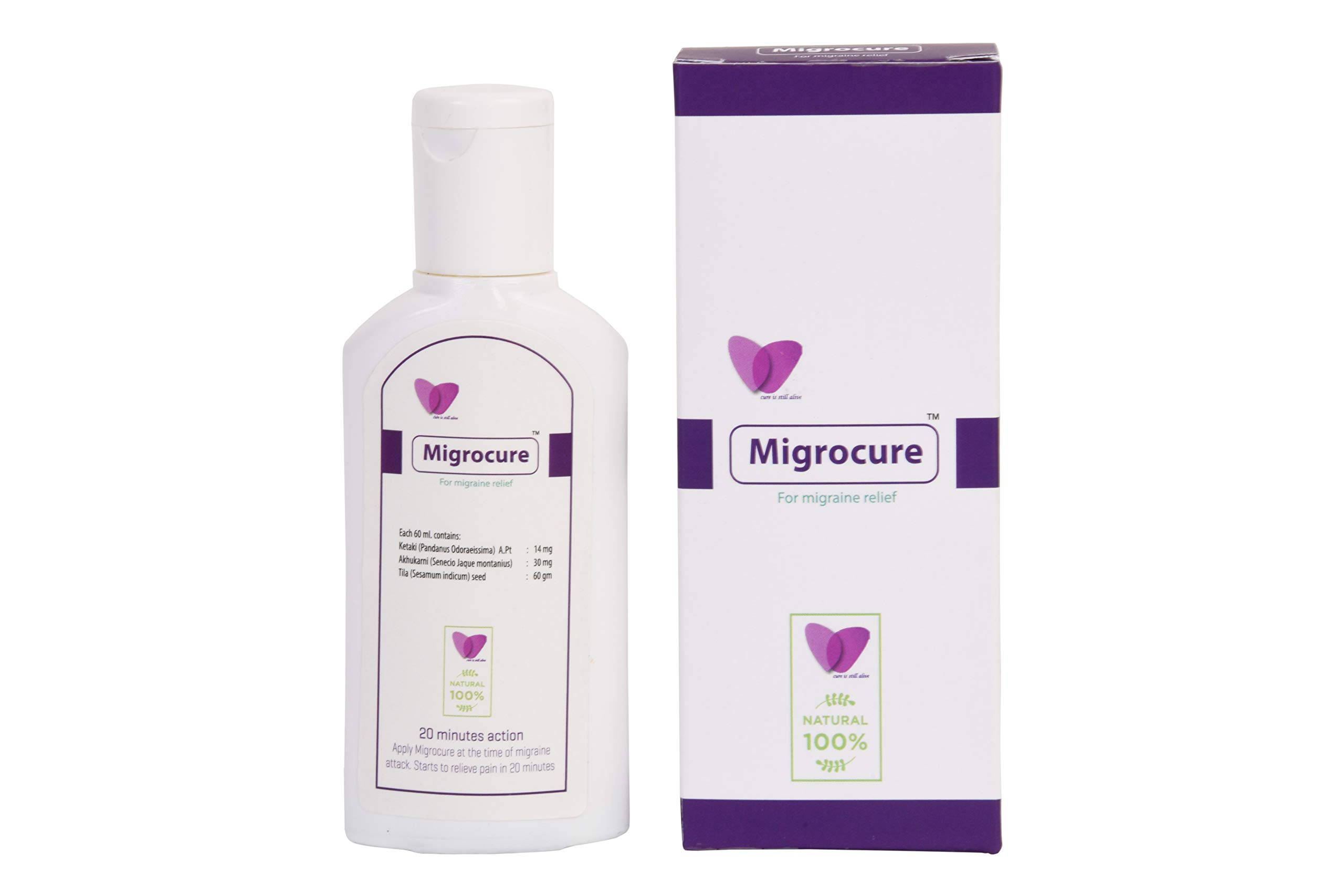 Migrocure for migraine Pain Relief   Natural, ayurvedic   Highly Effective   External Application only