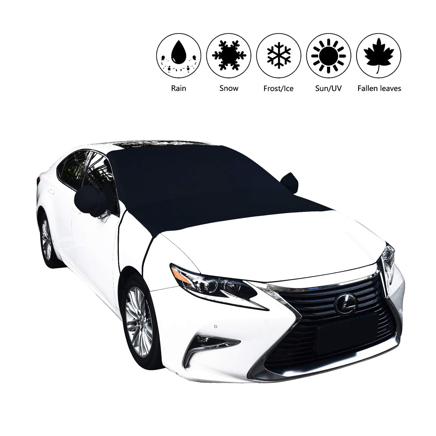 Car Windshield Snow Cover,Marrkey Winter Magnetic Snow, Ice and Frost Guard - Fits SUV, Truck & Car Windshields - Auto Windshield With Mirror Covers