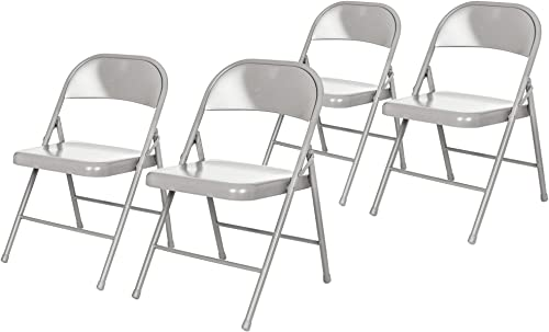 OEF Furnishings 4 Pack Steel Folding Chairs, Grey