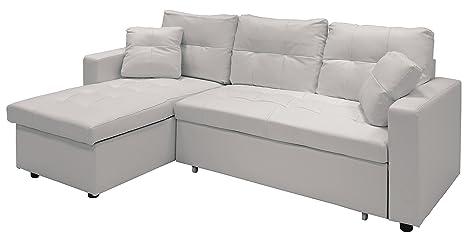 Divano letto in ecopelle con chaise longue tre posti bianco ...