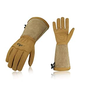 Vgo Synthetic Leather Gloves for Men and Women Extended Pig Split Leather Cuff Rose Pruning Thorn Proof Garden Work Gloves (1Pair, Size XL,Brown,SL6592M)